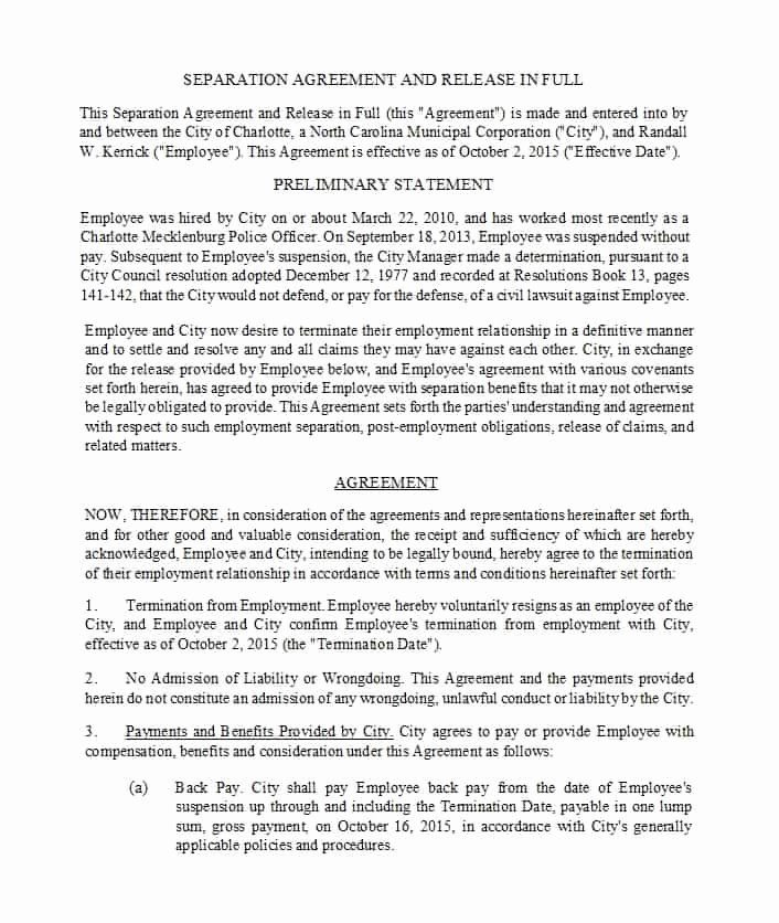 Severance Agreement Over 40 Template Fresh 43 Ficial Separation Agreement Templates Letters