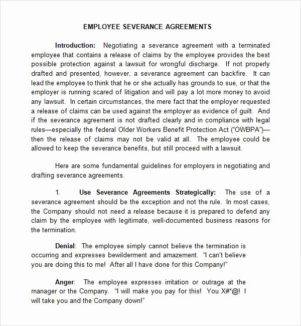 Severance Agreement Over 40 Template Inspirational Severance Agreement 6 Free Pdf Doc Download