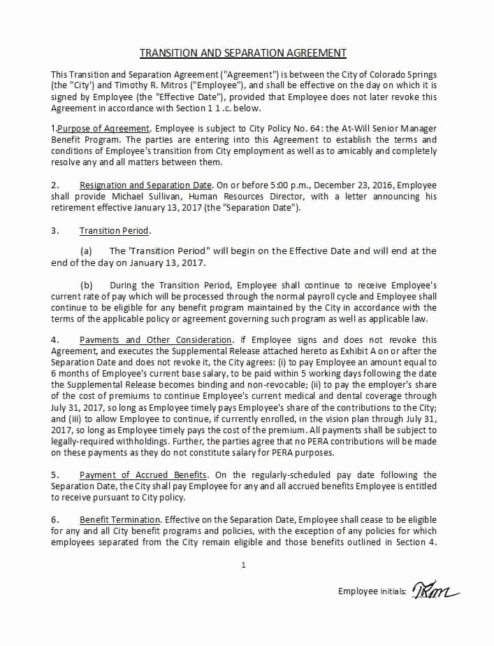 Severance Agreement Over 40 Template Unique 43 Ficial Separation Agreement Templates Letters