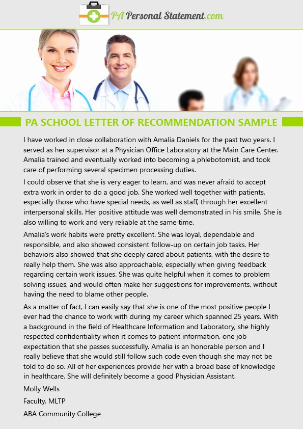 Shadowing Letter Of Recommendation Sample Beautiful Professional Pa School Personal Statement Samples