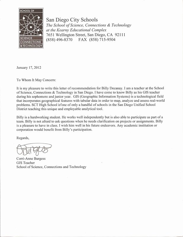 Shadowing Letter Of Recommendation Sample New Letter Of Re Mendation Billy Dacanay Senior Website