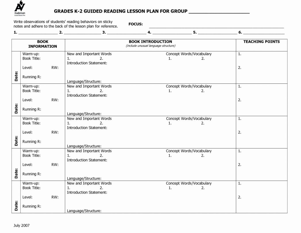 Shared Reading Lesson Plan Template Awesome Guided Reading Lesson Plan Template 4th Grade – 84 1st