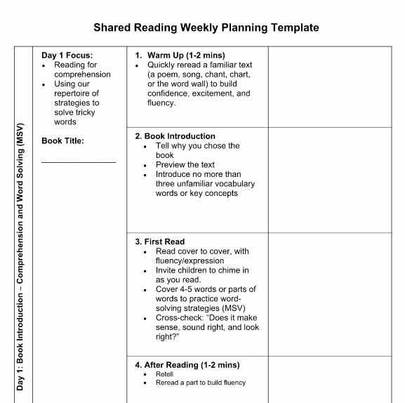 Shared Reading Lesson Plan Template Elegant Tcrwp Day 4 Reading Institute 2015