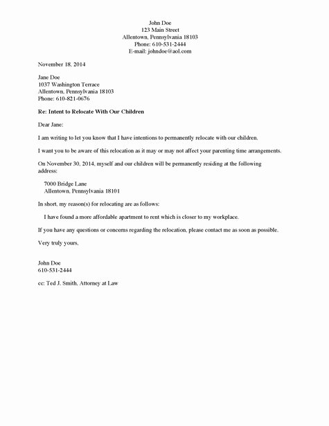 Shared Well Agreement Arizona Beautiful Divorce source Letter to Non Custodial Parent Of Intent