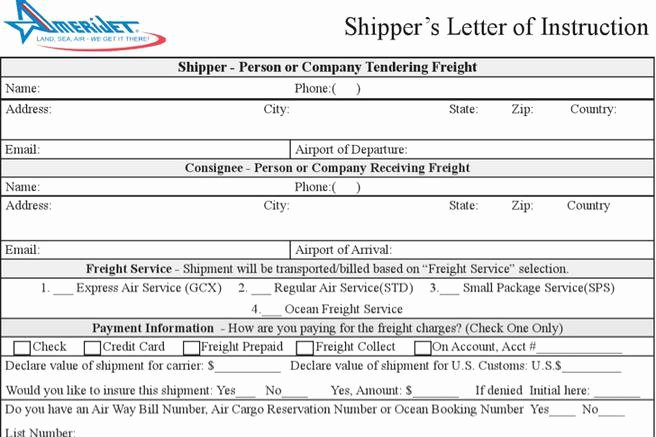 Shipper Letter Of Instruction format Best Of 9 Letter Of Instruction Templates Free Download
