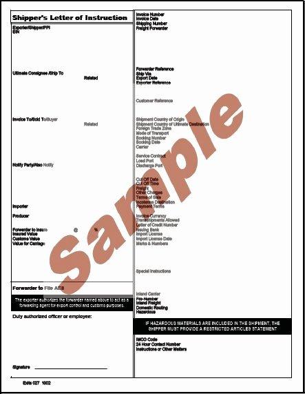 Shipper Letter Of Instruction format Inspirational Shipper S Letter Instruction Template