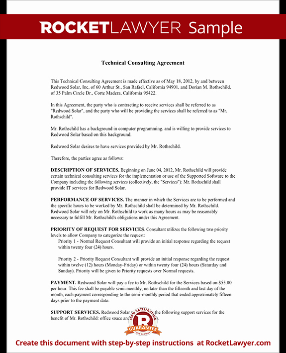 Short form Consulting Agreement Elegant Consulting Agreement for Technical Services Contract