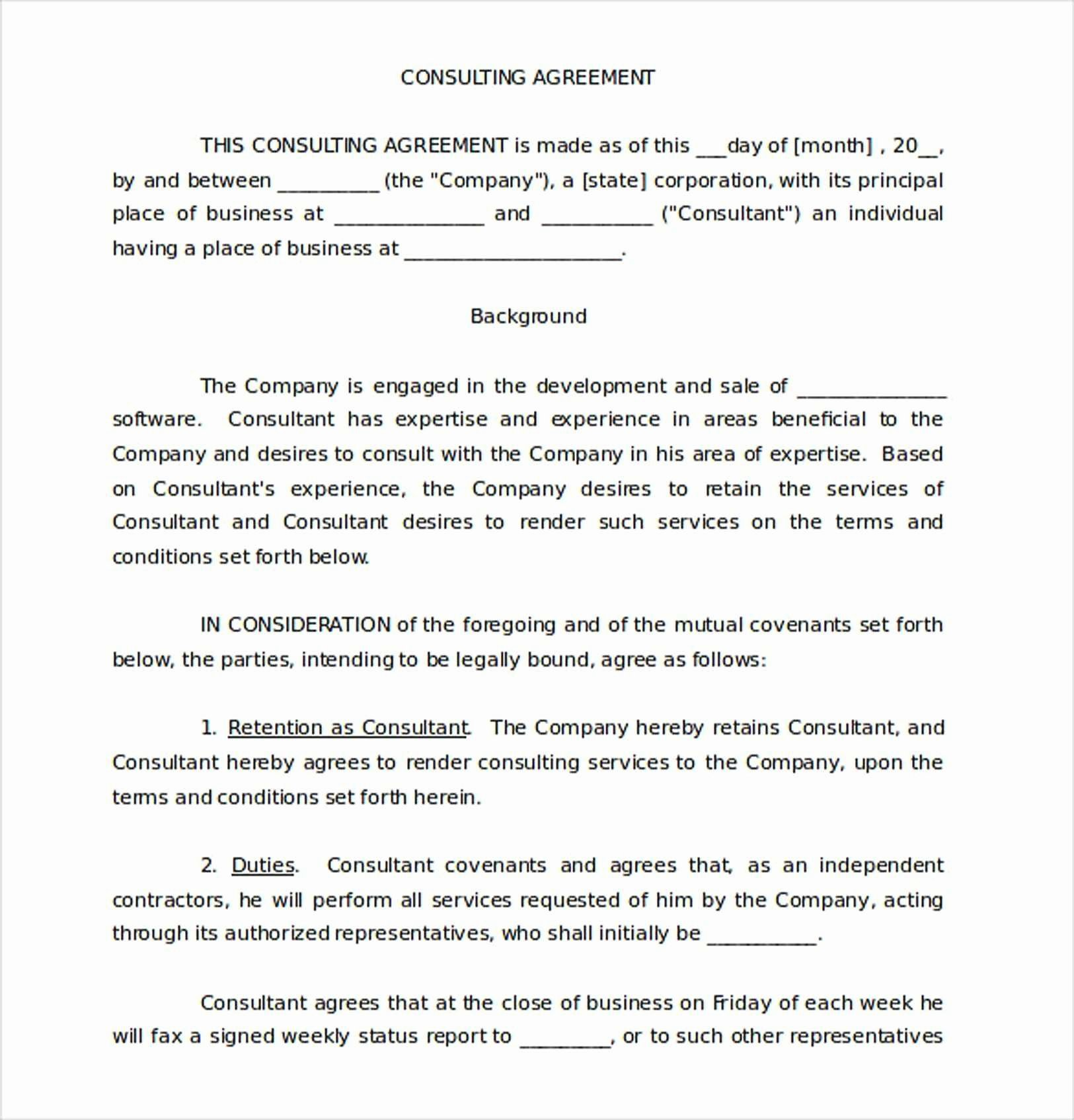 Short form Consulting Agreement Elegant Elegant Consulting Agreement Template Short