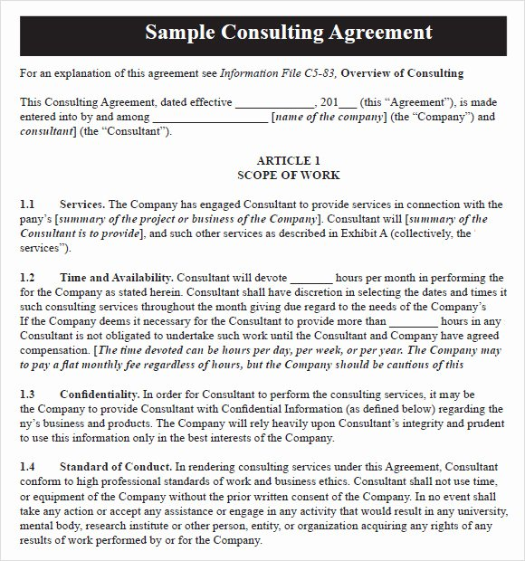 Short form Consulting Agreement Fresh Consulting Agreement 9 Free Samples Examples format