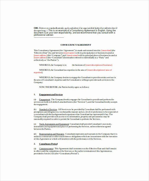 Short form Consulting Agreement Lovely 18 Consulting Agreement forms