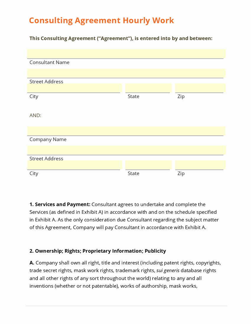 Short form Consulting Agreement Luxury Sample Consultation Agreement