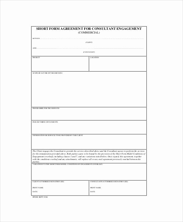 Short form Consulting Agreement New 7 Sample Consulting Agreement forms