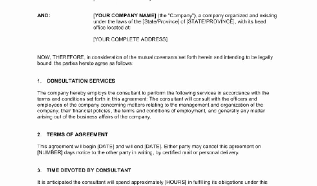 Short form Consulting Agreement New Business Consulting Agreement