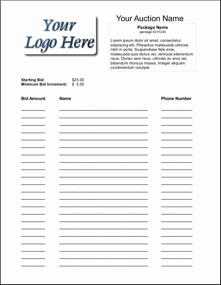 Silent Auction Item Description Template Best Of Bid Sheets