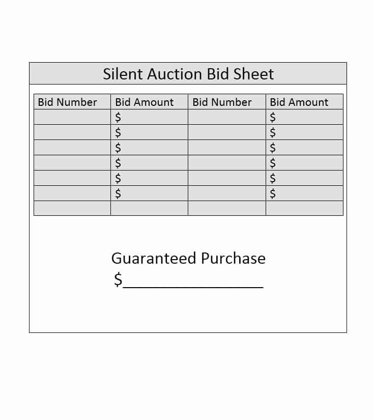 Silent Auction Item Description Template Elegant Silent Auction Bid Sheet Template Free Word Printable