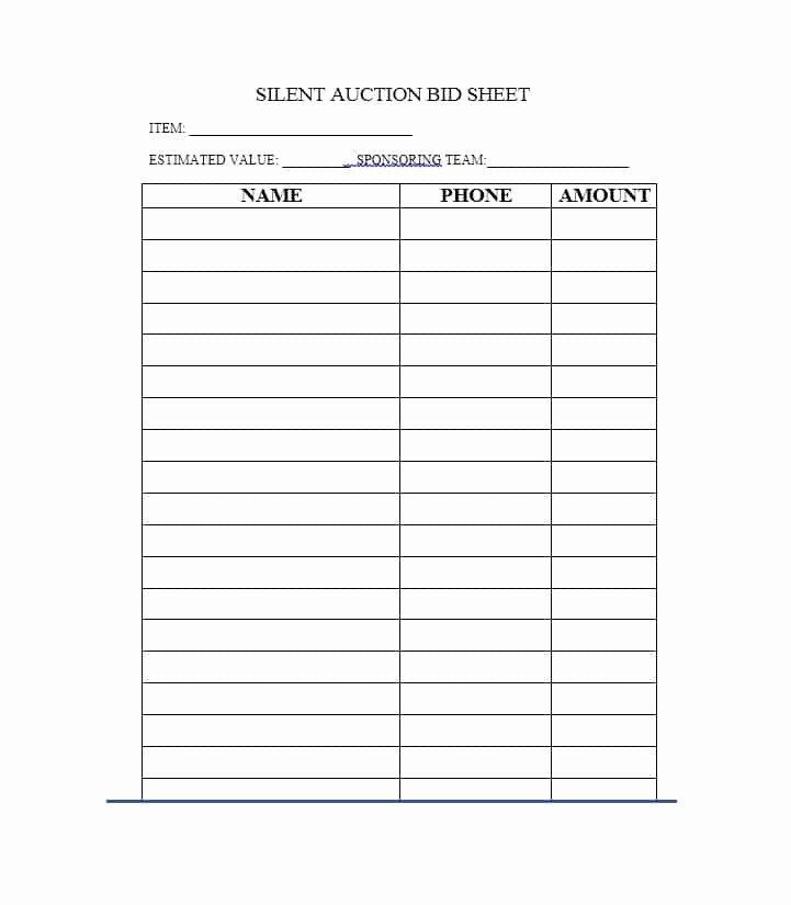 Silent Auction Item Description Template Fresh Free Silent Auction Bid Sheet Templates Word Excel