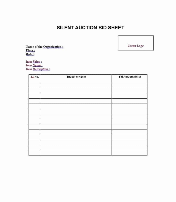 Silent Auction Item Description Template Inspirational Free 6 Printable Sample Silent Auction Bid Sheet Template