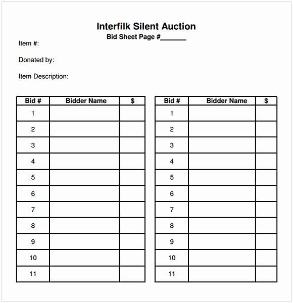 Silent Auction Item Description Template Inspirational Silent Auction Bid Sheet