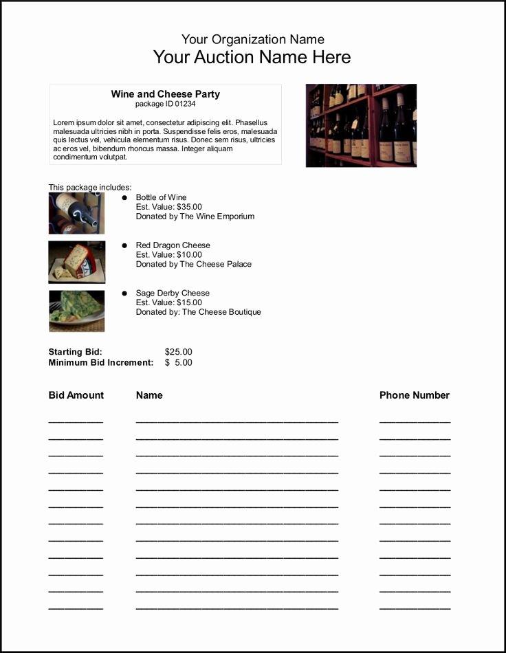 Silent Auction Item Description Template Inspirational Silent Auction Bid Sheets Fund Raising