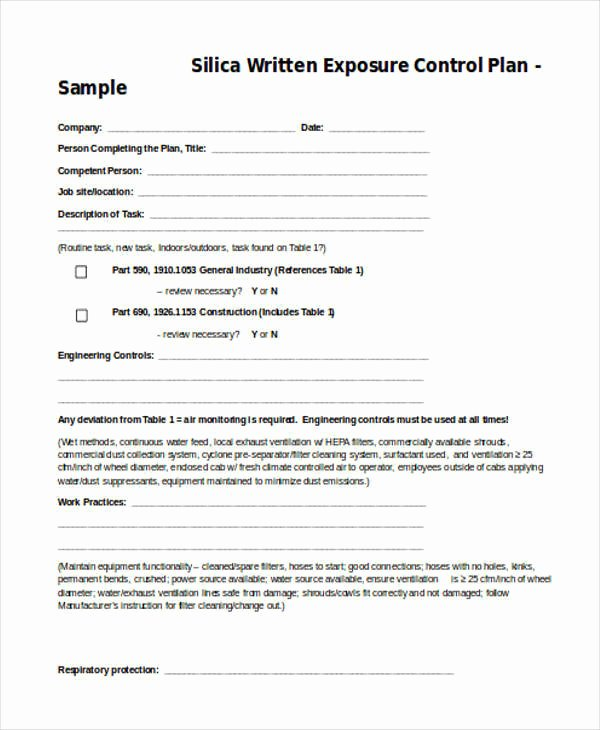 Silica Exposure Control Plan Template Luxury 8 Control Plan Samples & Templates Pdf Doc