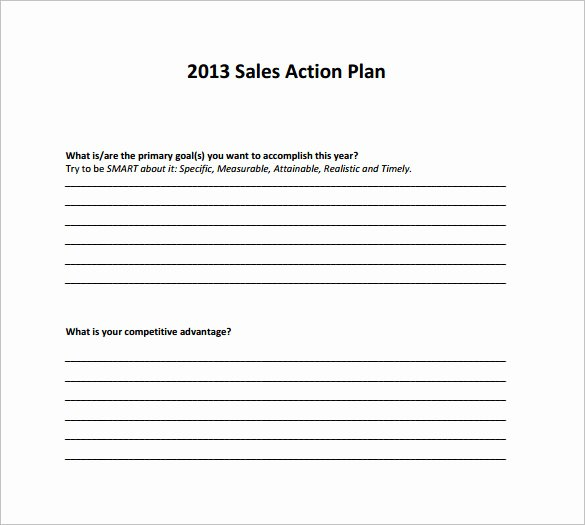 Simple Action Plan Template Fresh Sample Sales Action Plan 12 Example format