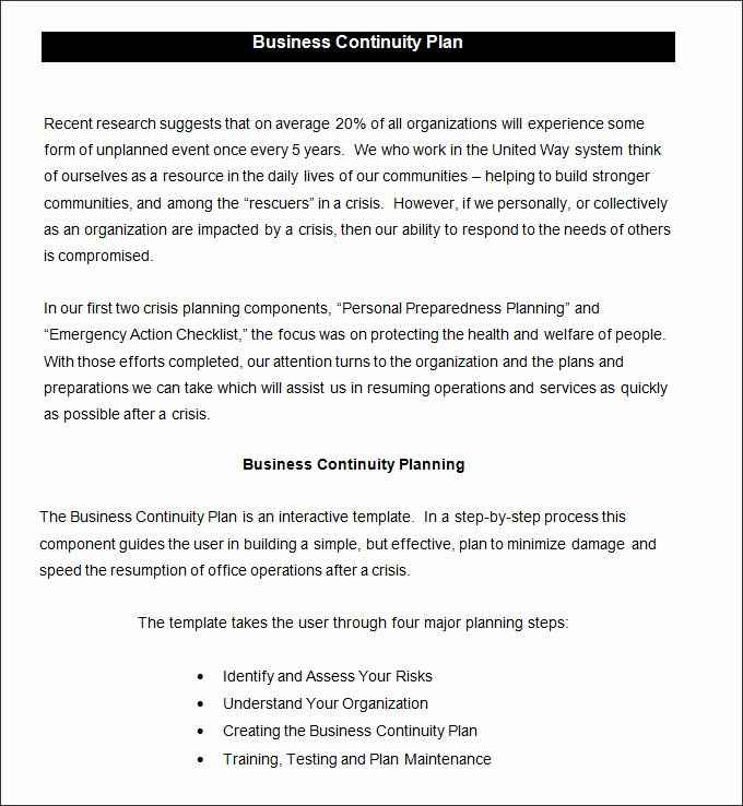 Simple Business Continuity Plan Template Awesome Business Continuity Plan Template 9 Free Word Pdf