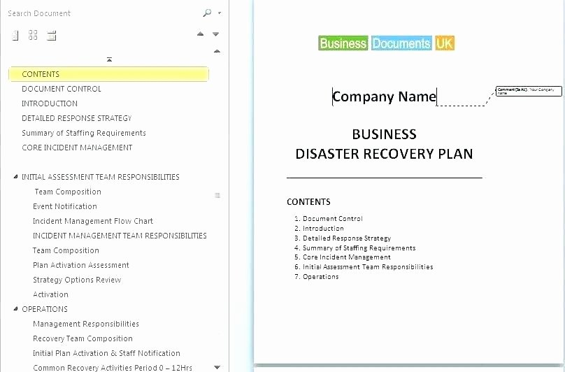 Simple Business Continuity Plan Template Fresh Simple Business Continuity Plan Example Simple Business
