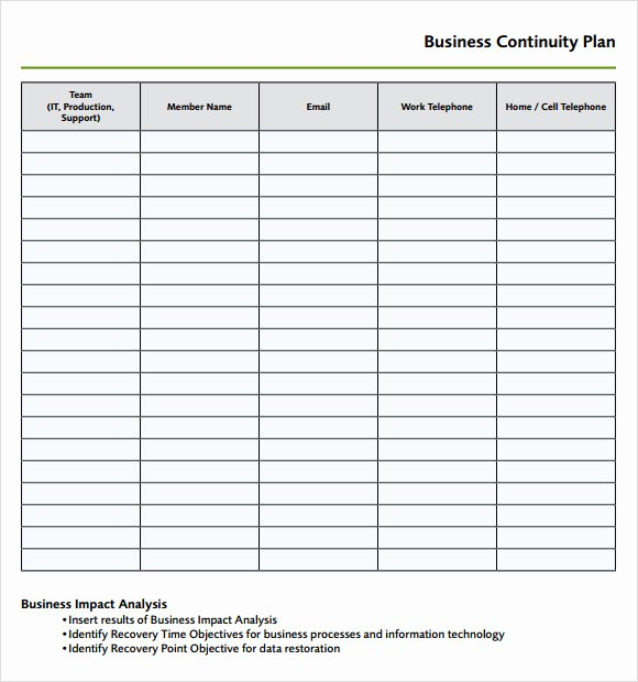 Simple Business Continuity Plan Template Lovely 9 Disaster Recovery Plan Templates