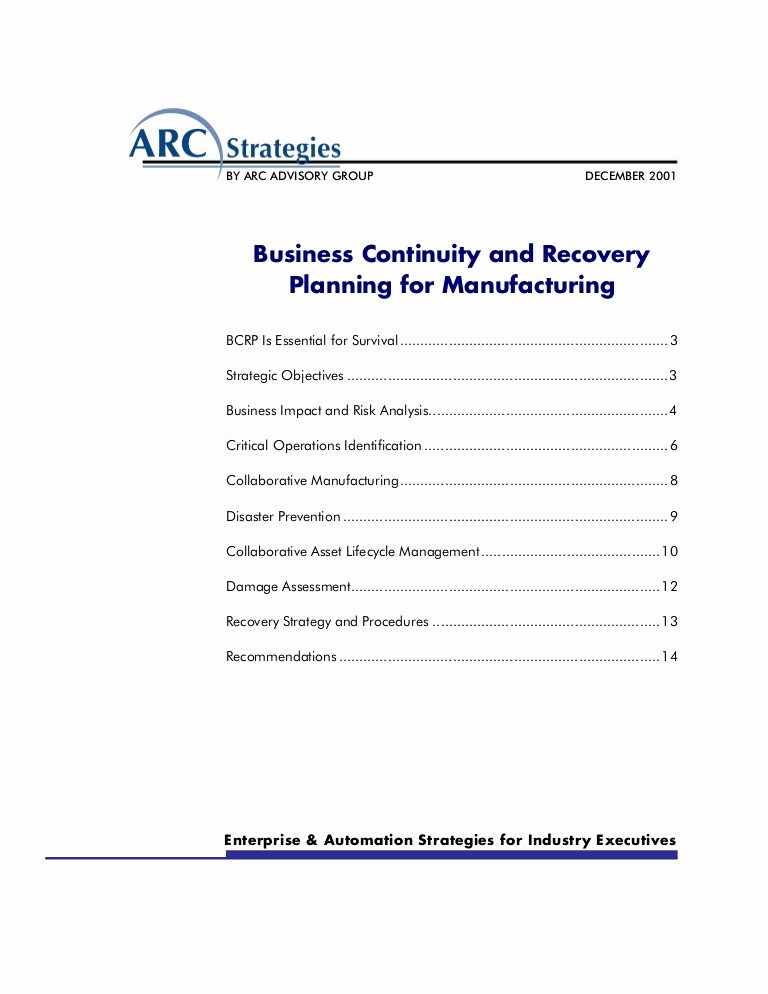 Simple Business Continuity Plan Template Lovely Business Continuity and Recovery Planning for Manufacturing