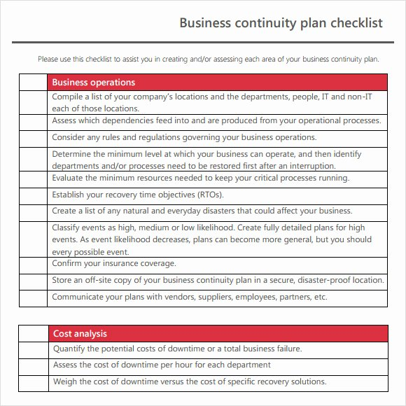 Simple Business Continuity Plan Template Luxury 12 Sample Business Continuity Plan Templates