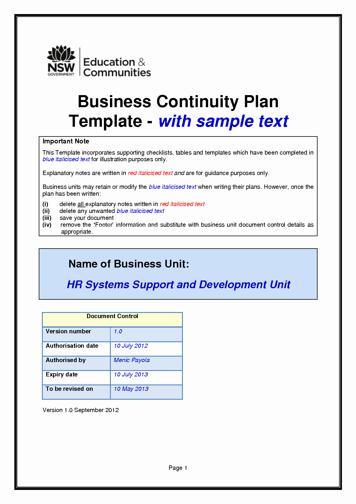 Simple Business Continuity Plan Template Luxury Business Continuity Plan Template