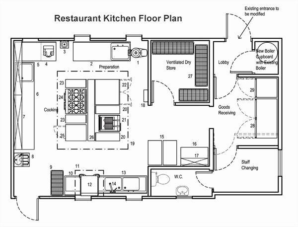Simple Cafeteria Plan Template Elegant Kitchen Floor Planner