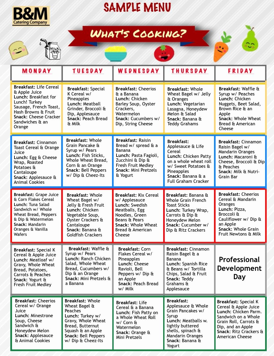 Simple Cafeteria Plan Template Unique Sample Menu for Childcare Lunches southern New England