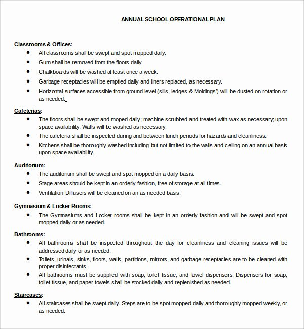 Simple Cafeteria Plan Template Unique Sample Operational Plan Template 9 Free Documents In