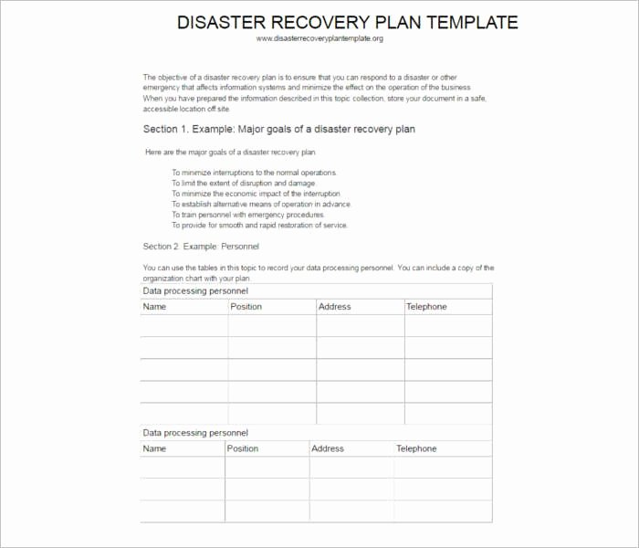 Simple Disaster Recovery Plan Template Awesome 7 Disaster Recovery Plan Templates Free Pdf Doc formats