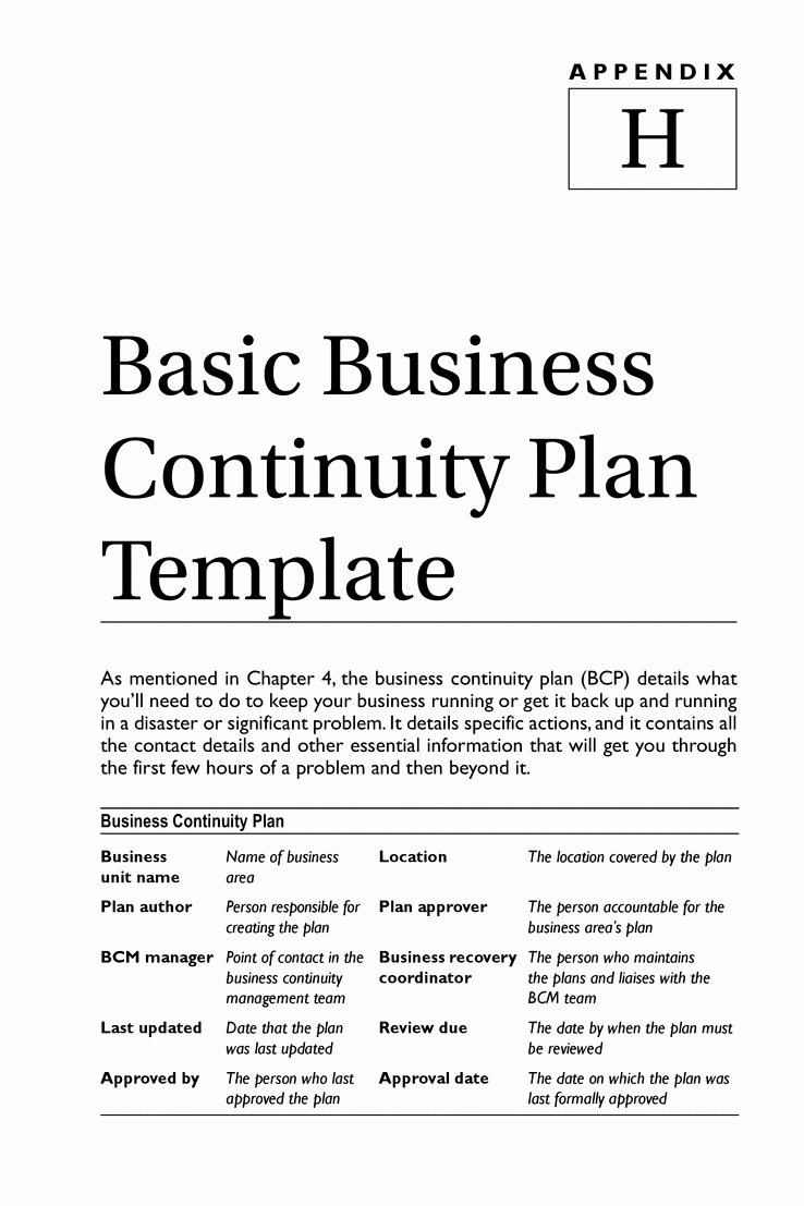 Simple Disaster Recovery Plan Template Inspirational Business Continuity Plan Template