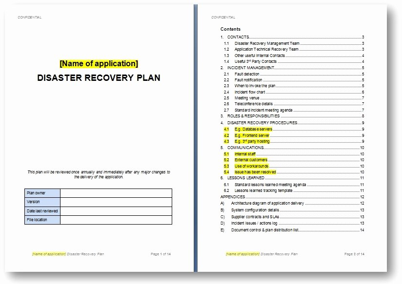 Simple Disaster Recovery Plan Template New Disaster Recovery Plan Template the Continuity Advisor