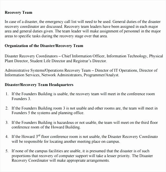 Simple Disaster Recovery Plan Template Unique Simple Disaster Recovery Plan Template Simple Business