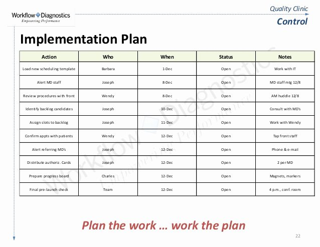 Simple Implementation Plan Template Awesome Quality Clinic Lean Six Sigma Fundamentals Training Sample