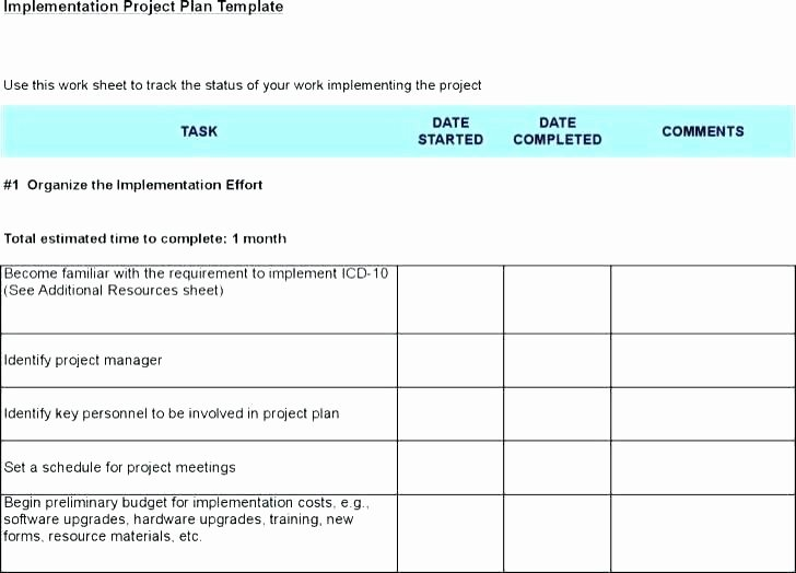 Simple Implementation Plan Template Lovely Implementation Plan Template Word
