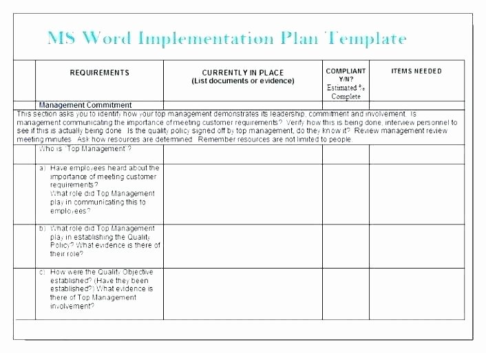 Simple Implementation Plan Template Unique Implementation Plan Template Word