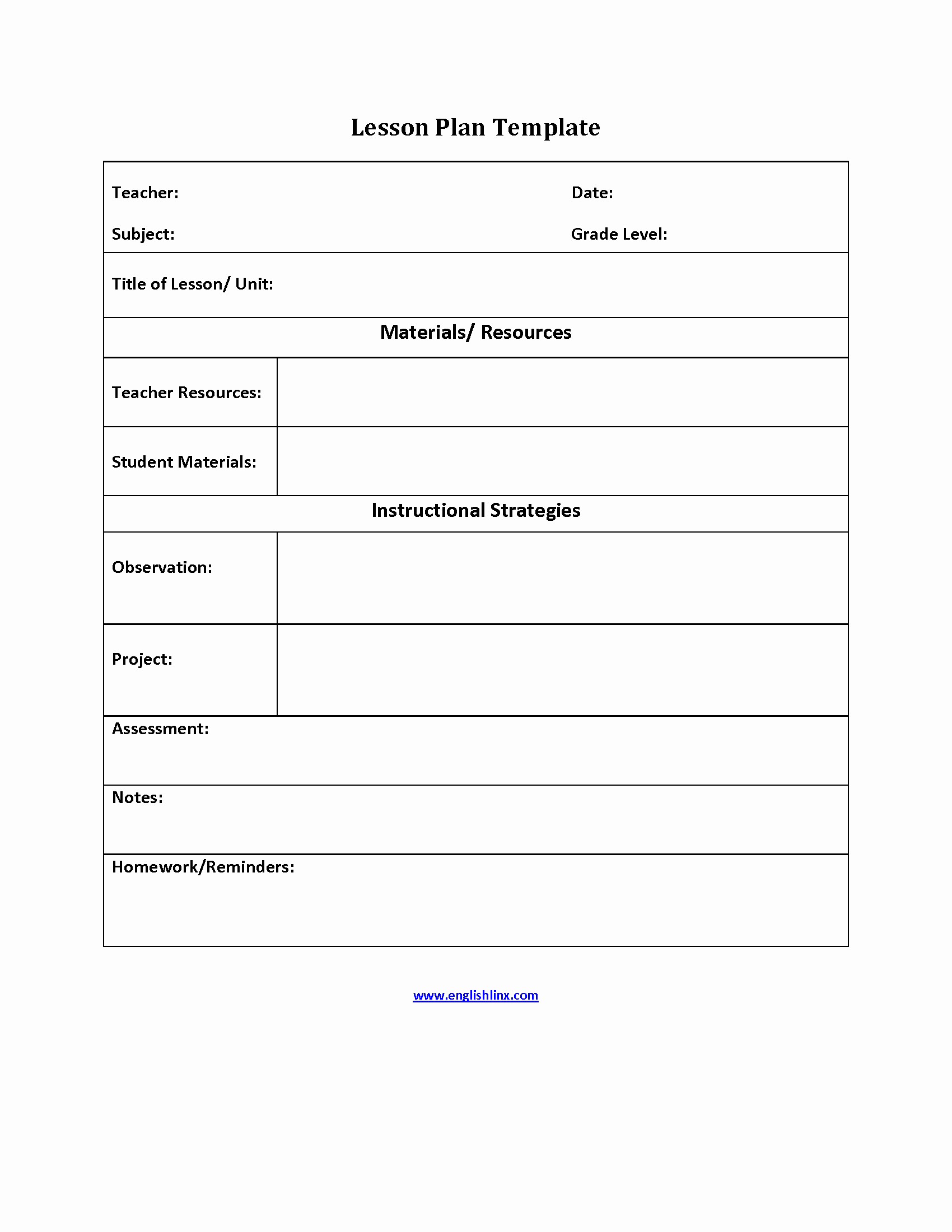 Simple Lesson Plan Template Awesome Englishlinx
