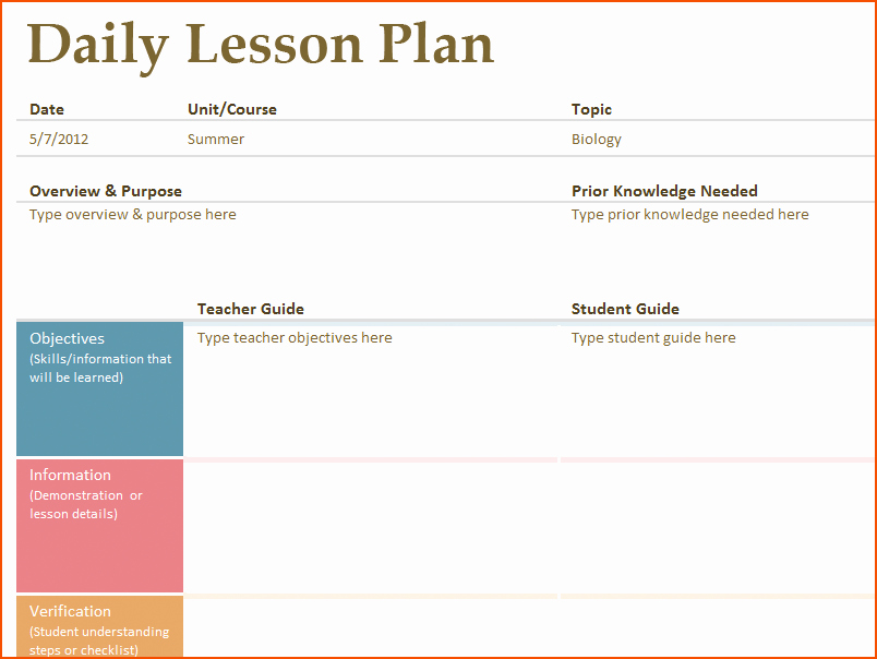 Simple Lesson Plan Template Lovely 8 Free Printable Lesson Plan Template Bookletemplate