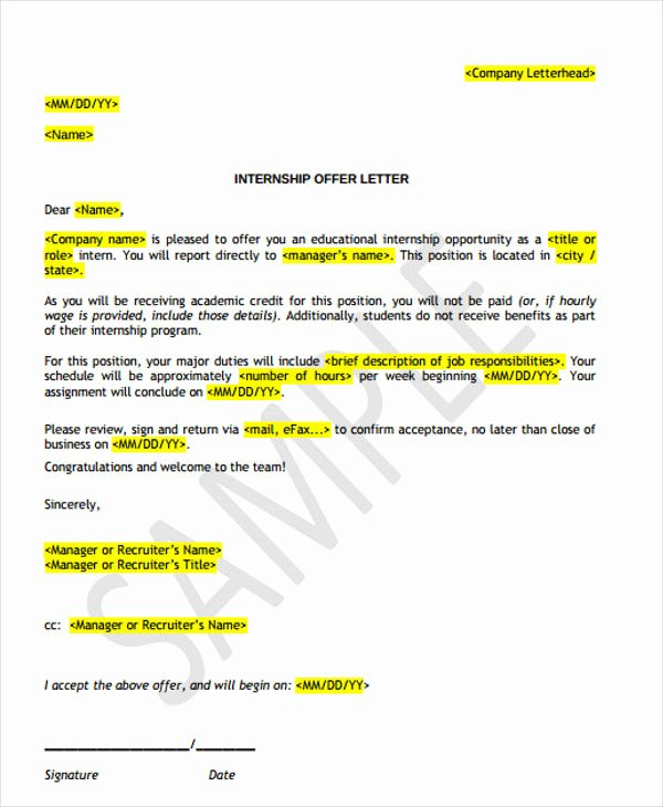 Simple Offer Letter format Best Of 36 Simple Fer Letter Templates