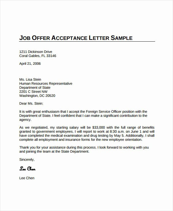 Simple Offer Letter format Elegant Job Fer Acceptance Letter 8 Free Pdf Documents