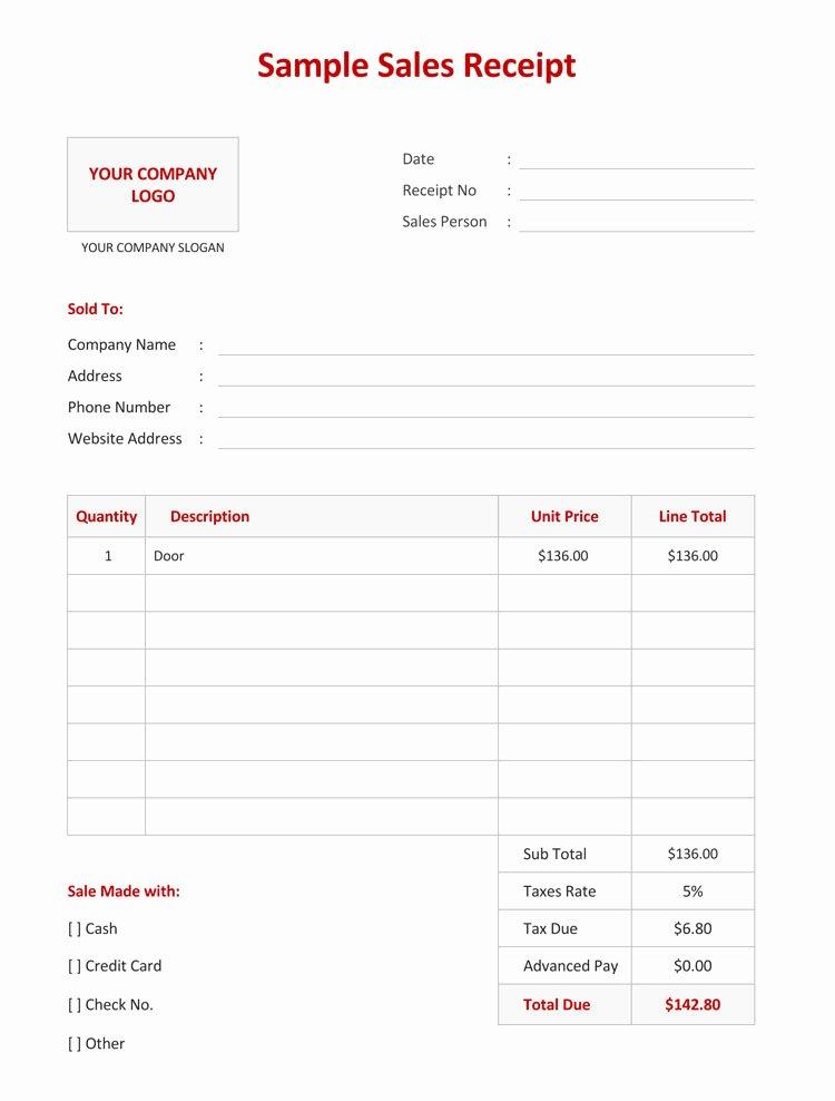 Simple Sales Receipt Template Unique 12 Free Sales Receipt Templates Word Excel Pdf