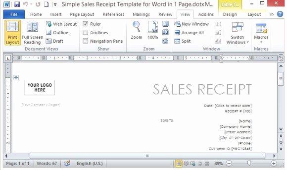 Simple Sales Receipt Template Unique Simple Sales Receipt Template for Word In E Page