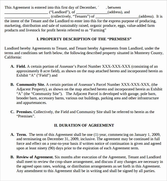 Simple Shared Well Agreement Beautiful 10 Pasture Lease Agreement Templates Download for Free