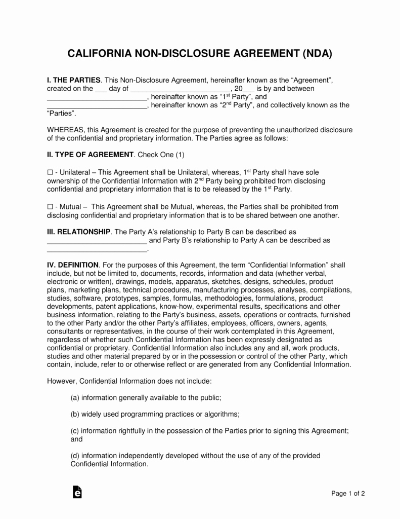 Simple Shared Well Agreement Best Of California Non Disclosure Agreement Nda Template