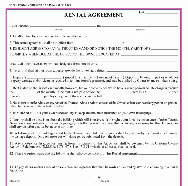Simple Shared Well Agreement Lovely Free Printable Basic Rental Agreement